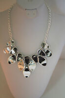 International Concepts silver tone pebble bib necklace