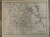 1881 UPPER NUBIA & ABYSSINIA LARGE HAND COLOURED ANTIQUE MAP BY JOHNSTON