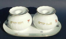 Porcelain Shabbat Candle Holders Candlesticks Holy Shabbos Hebrew Made in Israel