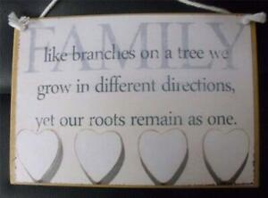 Country Printed Quality Wooden Sign With Hanger Family Tree Inspiring Plaque New