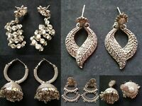 Lot of 5 Pairs Indian Silver Oxidized Stud Earrings Jhumka Express Shipping