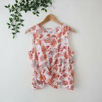 J.Jill Love Linen Sleeveless Twist Hem Floral Print Linen Top S Small Floral