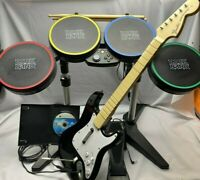 Xbox 360 Rock Band 2 Bundle Wired Drum Kit Fender Guitar Rock Band game