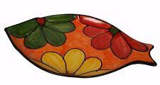 PLATO en forma de pescado plato tradicional español hecho a mano de cerámica de barro 37x21cm