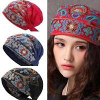 Women Vintage Beanie Hat Boho Mexican Style Floral Embroidery Ethnic Hat Beanies