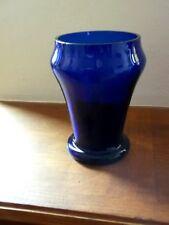 Cobalt Blue Crystal Glass VASE Vintage Mouth Blown Mid Century West German
