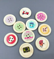 Mixed Round Wooden Buttons 4-holes pattern Fit Sewing scrapbooking crafts 25mm