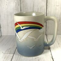 Vintage Otagiri Japan Mug Rainbow Seagulls 10 oz Gold Trim Colorful