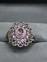 14k Solid  White Gold Pink Sapphire Cocktail Ring Sz 8 Unique!