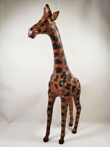 "Vintage Leather Wrapped Giraffe Statue Figure 17.5"" Tall Figurine"
