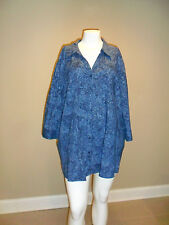 Catherines Women's Plus 3/4 Sleeve Button Down Shirt Blue/Silver 5X(34w-36w) NEW