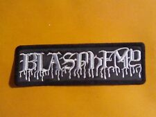 BLASPHEMY  2 ,SEW ON WHITE EMBROIDERED PATCH