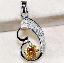 Yellow Sapphire & White Topaz 925 Solid Genuine Sterling Silver Pendant