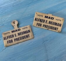 New listing Vintage Mad Magazine Pin Alfred Neuman For President 2 Pins