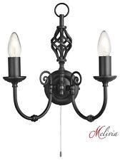 Wandlampe 2x60W Wandleuchte Schwarz Klassisch Landhaus Kerze Zugschalter Lampe