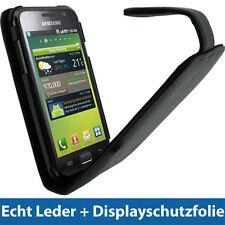 Schwarz Echtes Leder Tasche für Samsung Galaxy S i9000 Android Hülle Case Etui