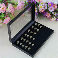 100 Jewelry Ring Display Organizer Case Tray Holder Earring Velvet Storage Box e