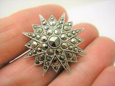 Victorian Sterling Silver Marcasite Star Brooch Pin