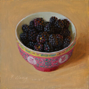 original daily painting a day realism still life raspberries Y Wang fine art 6x6