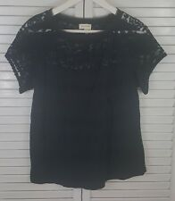 MEADOW RUE- ANTHROPOLOGIE Womens Black Lace Short Sleeve Blouse Top Size M