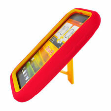 T-Mobile HTC ONE S Impact Hard Rubber Case Phone Cover Kick Stand Red Yellow