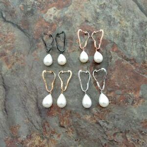 13x18mm Teardrop White Sea Shell Pearl CZ Pave stud Earrings
