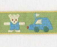 "Teddy Bear & Cars Jacquard Embroidered Ribbon Trim 5/8"" x 21"" Long"