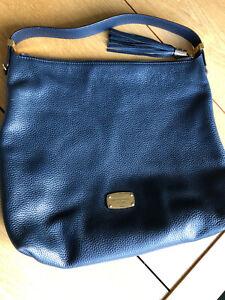 Michael Kors Hobo Style Handbag Dark Blue With Drawstring Protective Cover