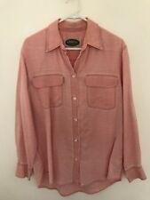 🧡 R.M. WILLIAMS Vintage Distressed Washed Orange Pink  Lyocell Shirt Blouse 8 S