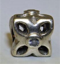 PANDORA Sweetpea Flower  Stone Charm Sterling silver