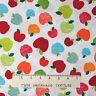 "School Fabric - Head of the Class Apple Toss White - Benartex Kanvas Studio 17"""