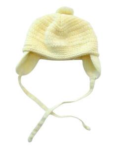 Vintage Pastel Yellow Baby Winter Hat Hand Crochet Pom Pom & Ear Flaps 1980s