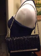 New Judith Leiber Evening Shoulder Bag Crystal Silk Silver Black Clutch Wallet