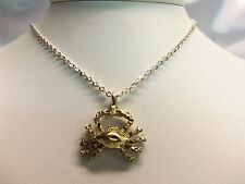"UNUSUAL Texture Goldtone CRAB CANCER Detail Pendant 18"" Chain Necklace F2-N0037"