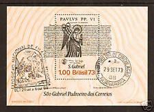 Brazil Sc 1308 used 1973 Philex S/S w First Day cancel