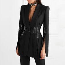 New Ladies Designer Inspired Luxury Straps Black Blazer Fashion Bandage Coats