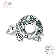 Silver Turtle Tortoise Charm Genuine 925 Sterling Silver & Green CZ 💞