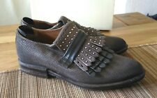 A.S.98 AS98 Mokassins CUT Grau Braun Halb Schuhe Slipper Nieten Boots 40 NP259€