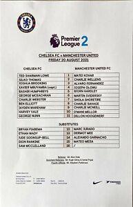 Chelsea U23 v Man Utd U23 20/8/2021, Premier League 2, Club Issued Team Sheet