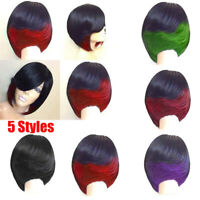 Women Short Side Bang Feathered Straight Bob Synthetic Party Hair Cosplay Wig