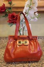Hoss Intropia Red Terracotta Leather Button Clasp Closure Shoulder Bag (PU500