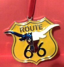 """ST NICHOLAS SQUARE  ROUTE 66 SIGN WITH LG HORN CHRISTMAS ORNAMENT NEW METAL 3"""""""
