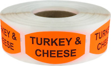 Turkey and Cheese Grocery Food Stickers, 0.75 x 1.375 Inches, 500 Labels Total