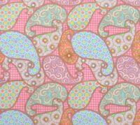 Michael Miller Fabric Pink Blue Green Pastel Paisley Jam Cotton Quilting 1 YARD