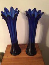 "Pair Of  Vintage Art Glass Cobalt Blue Flower Vase w Ruffle Edge 13"" High"