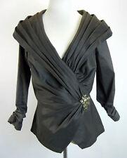 TADASHI SHOJI Womens Blouse Taffeta Faux Wrap Pleats Ruching Jewels Brown 10