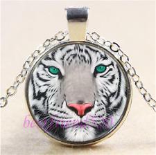White Tiger Face Photo Cabochon Glass Tibet Silver Chain Pendant Necklace#B3