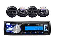 "New JVC Marine Yacht USB AUX Input AM/FM Bluetooth Radio Receiver, 6.5"" Speakers"