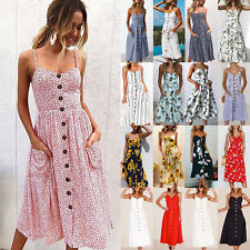 UK Womens Sundress Pleated Strappy Floral Swring Waist Elastic Flare Midi Dress