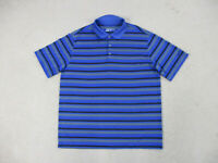 Nike Golf Polo Shirt Adult Extra Large Blue Black Striped DriFit Lightweight Men